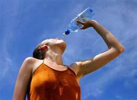 пьет воду в жару