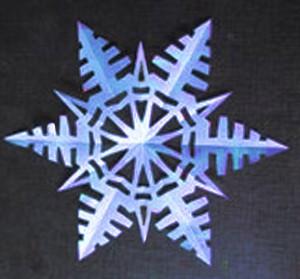 бумажная снежинка на окно с елками