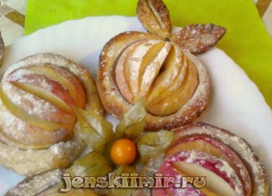 печеные яблоки в слоеном тесте