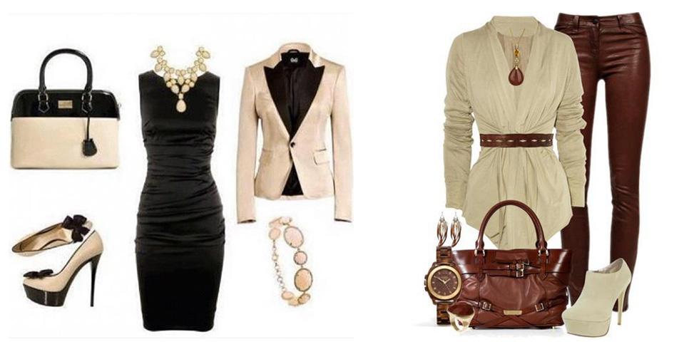сочетание бежевого с черным и коричневым цветом в одежде